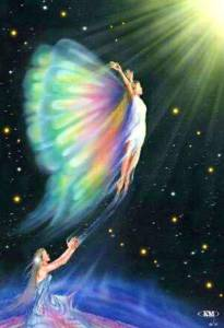 Butterfly Woman lifting off towards Light from Gaia